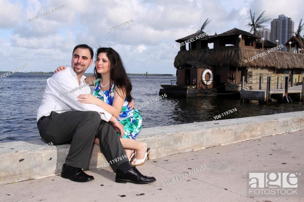 Stock Photo: Engaged couple Bayside, Miami, Florida, USA.