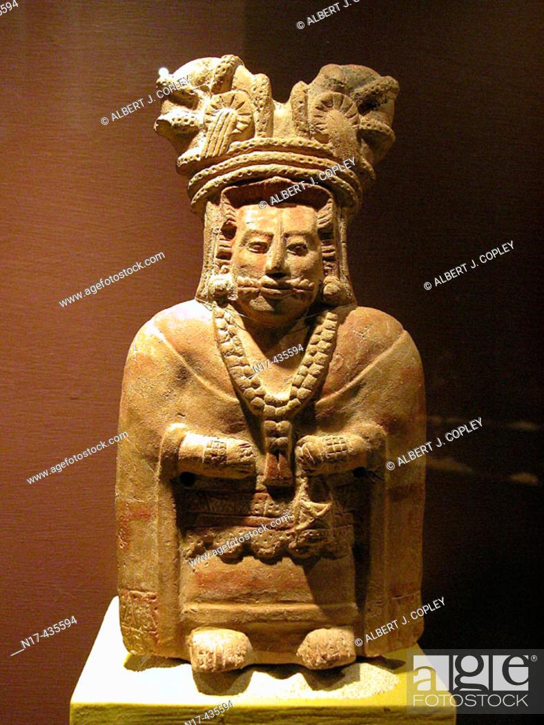 Stock Photo: Figurine (late classic period, 550 - 900 A.D.), Maya sculpture in museum. Mérida, Yucatán. Mexico.