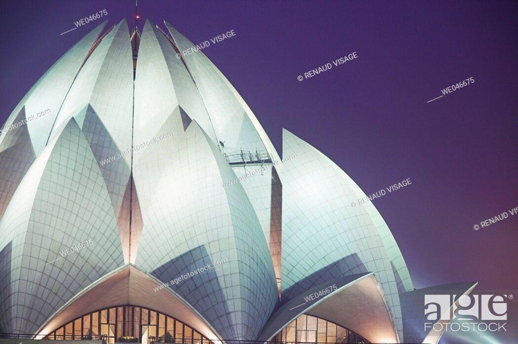 Stock Photo: Bahai Lotus Temple at night. Kalkaji. Delhi. India.