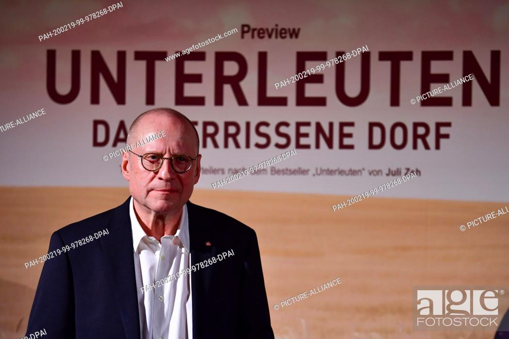 """Stock Photo: 18 February 2020, Berlin: Director Matti Geschonneck comes to the preview of the ZDF-multipartite """"""""Unterleuten"""""""". The television film in three parts will be."""
