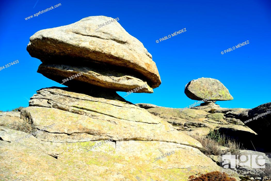 Stock Photo: Rock formations, Bustarviejo, Madrid, Spain.
