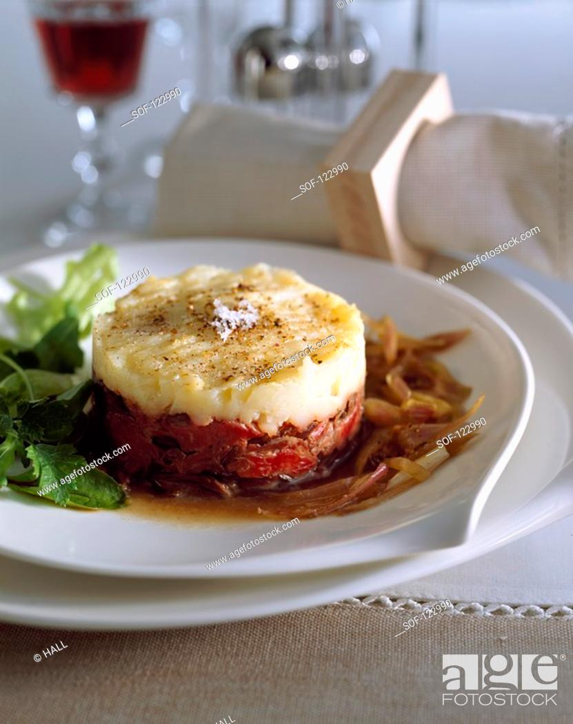 Stock Photo: Flank and shallot Parmentier.