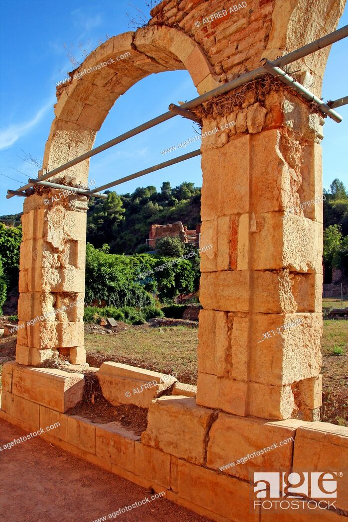 Stock Photo: Remains of the cloister, Cartuja de Escaladei, La Morera de Montsant, Tarragona, Catalonia, Spain.
