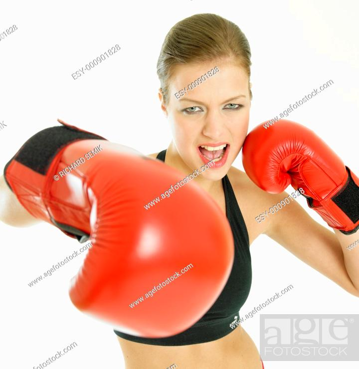 Stock Photo: woman with boxing gloves.