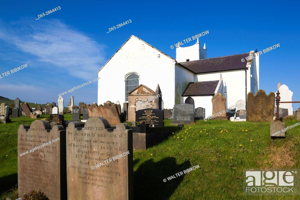 Stock Photo: UK, Northern Ireland, County Antrim, Ballintoy, Ballintoy Church.