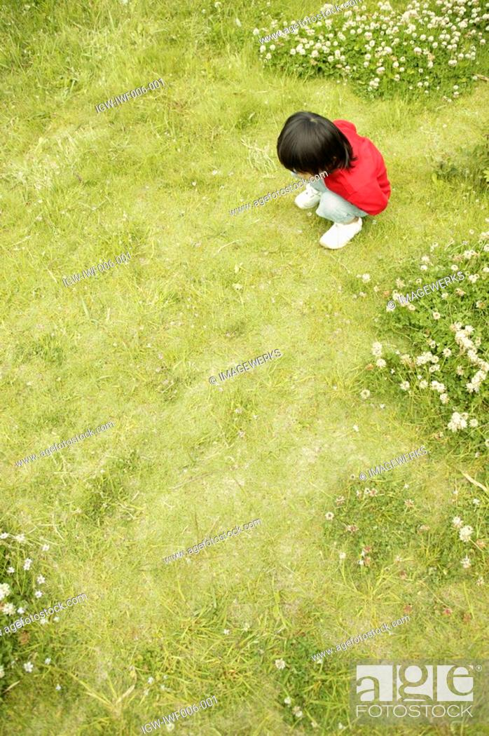 Stock Photo: Small boy staring at the grass in the garden.