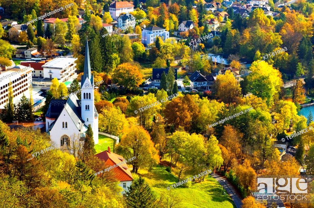 Stock Photo: The St Martin's parish church in Bled, Slovenia.