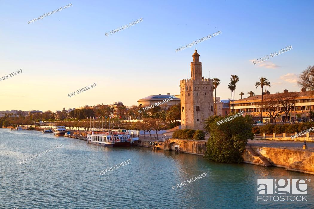 Stock Photo: Seville sunset skyline torre del Oro in Sevilla Andalusia Spain.