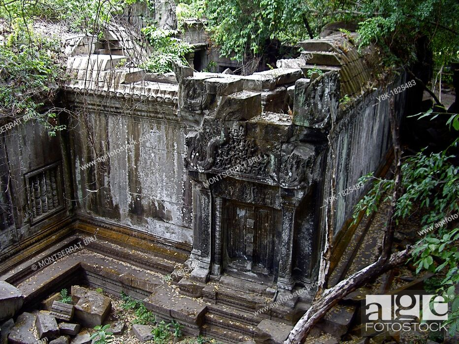 Stock Photo: Beng Mealea Temple ruins in Cambodia, high angle.