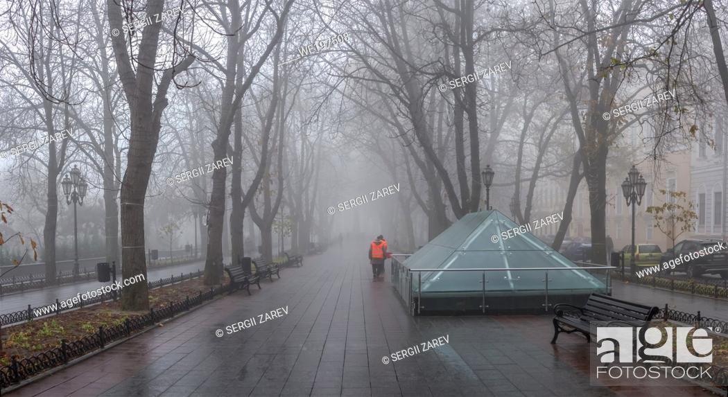 Stock Photo: Odessa, Ukraine. Primorsky Boulevard in Odessa, Ukraine, on a foggy autumn day.