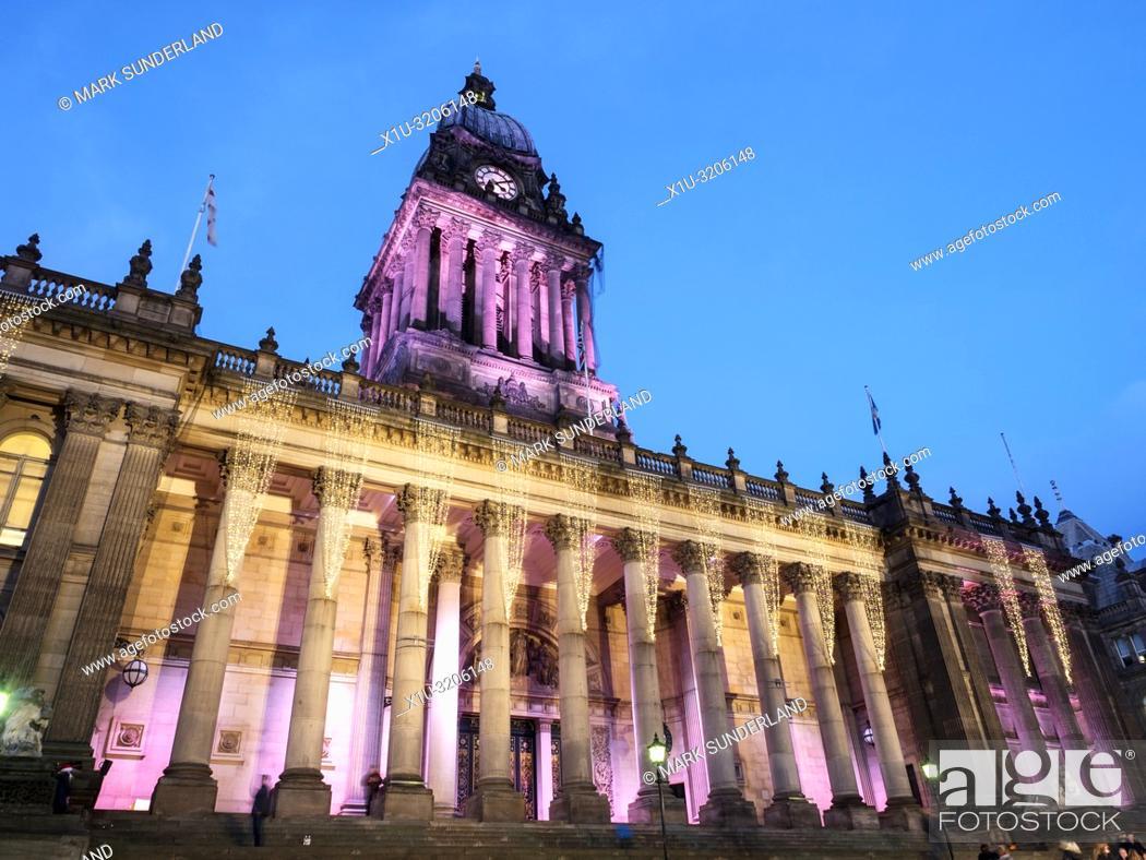 Stock Photo: Lights on Leeds Town Hall at dusk at Christmas The Headrow Leeds West Yorkshire England.