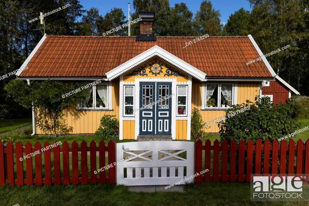 Photo de stock: Front porch in Bolmen, Sweden.