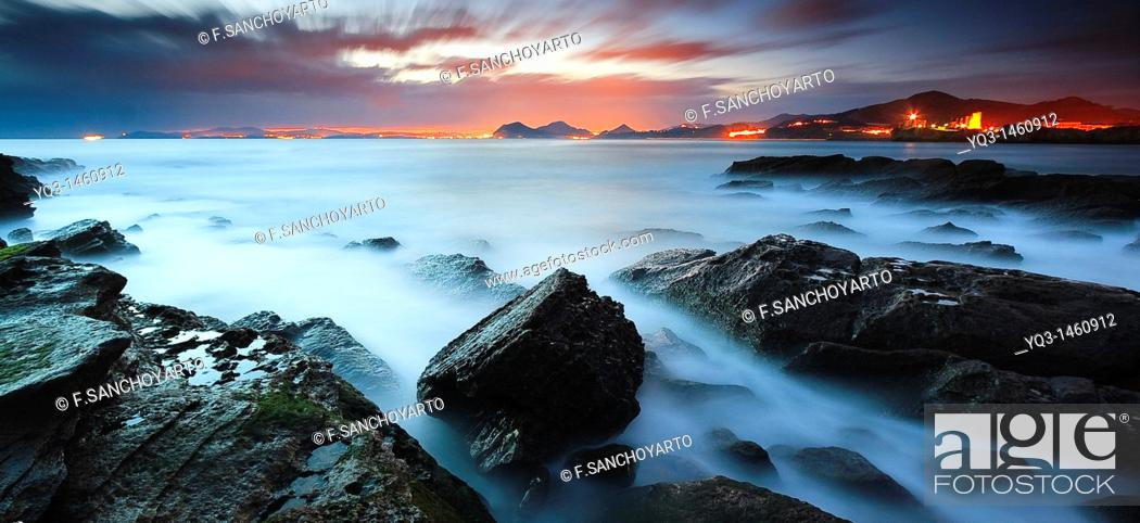 Stock Photo: South wind on the Rebanal coast at sunrise, Castro Urdiales, Cantabria, Spain.