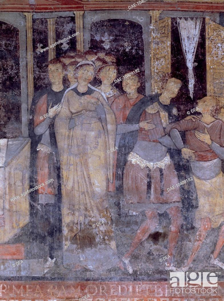Stock Photo: Detail of the Stories of St Clement, fresco in the lower church, Basilica of St Clement, Rome. Italy, 12th century.