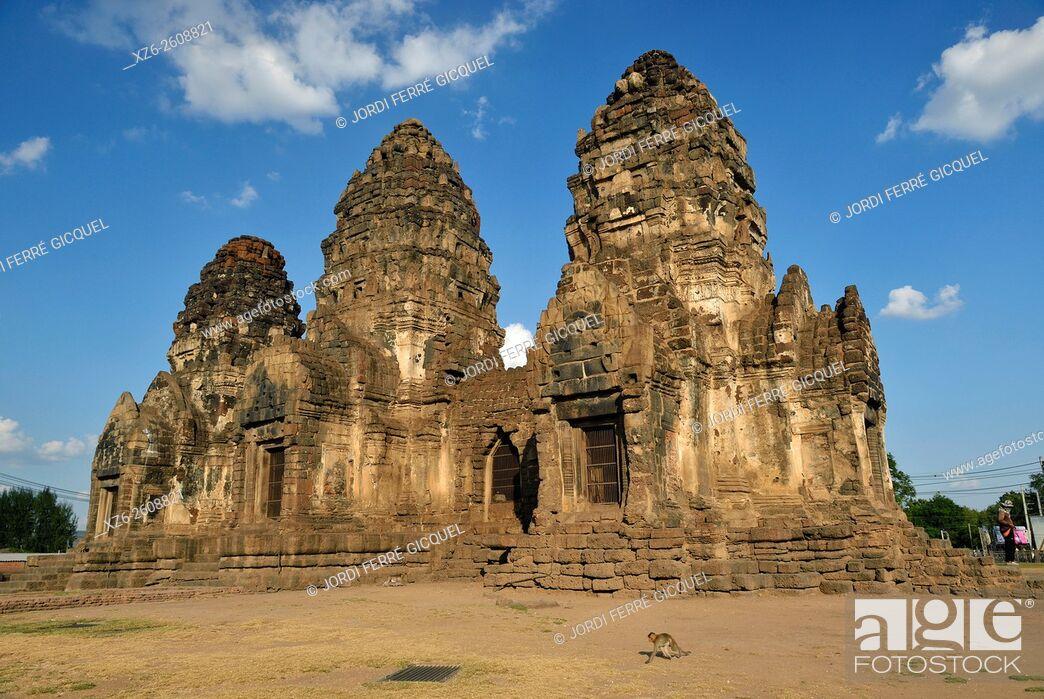 Stock Photo: Prang Sam Yot temple, Lopburi, Thailand, Asia.