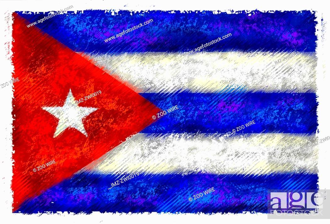 Stock Photo: Drawing of the flag of Cuba.