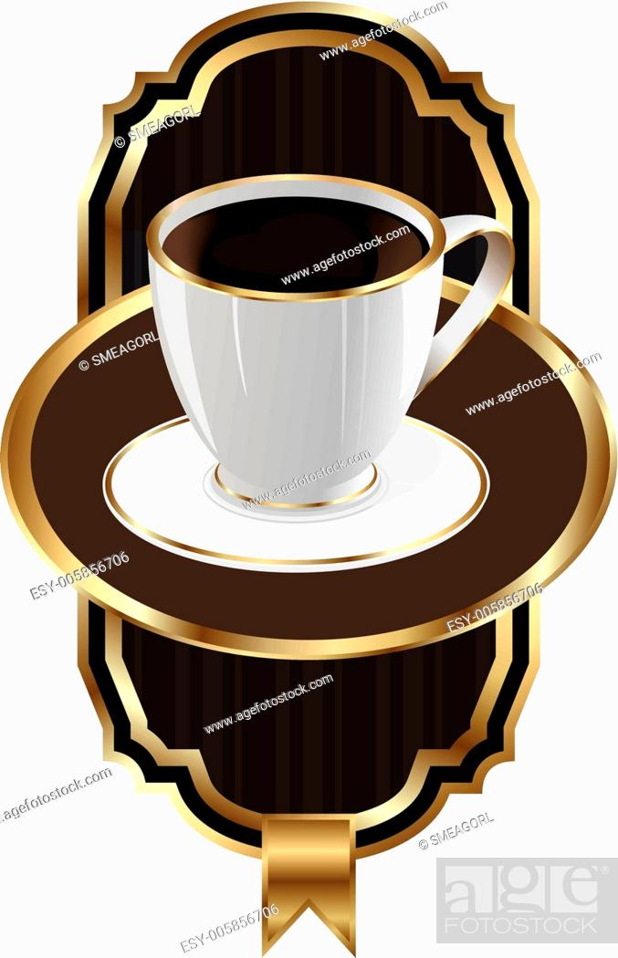Stock Vector: Vintage label for packing coffee, isolated on white background.