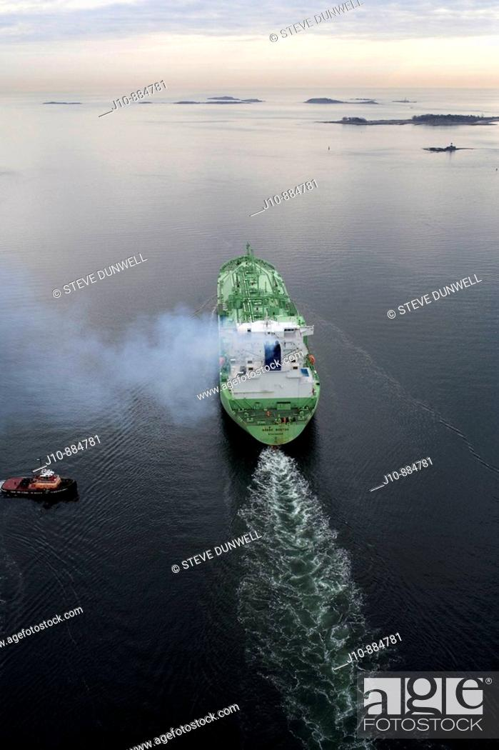 Stock Photo: LNG (Liquified Natural Gas) tanker aerial view, Boston harbor, Massachusetts, USA.