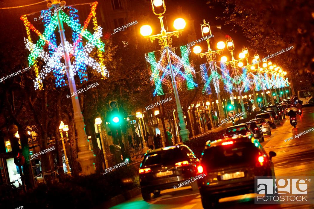 Stock Photo: Traffic, Christmas lights, Liberty Avenue, Donostia, San Sebastian, Gipuzkoa, Basque Country, Spain.