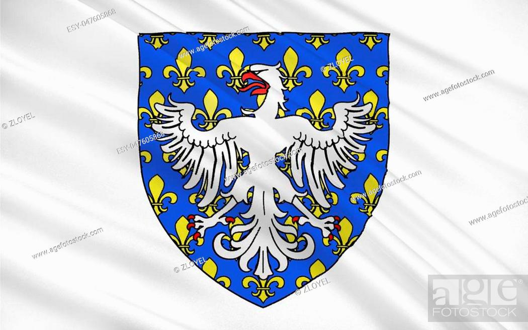 Stock Photo: Flag of Le Puy-en-Velay is a commune in the Haute-Loire department in south-central France near the Loire river.
