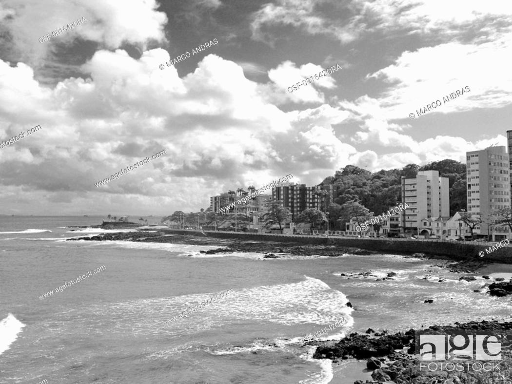 Stock Photo: salvador waves breaking on the sea shore.