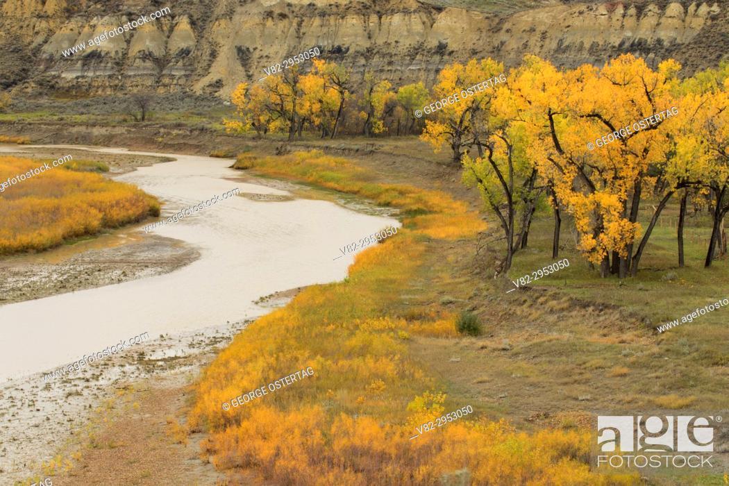 Stock Photo: Little Missouri River, Medora, North Dakota.