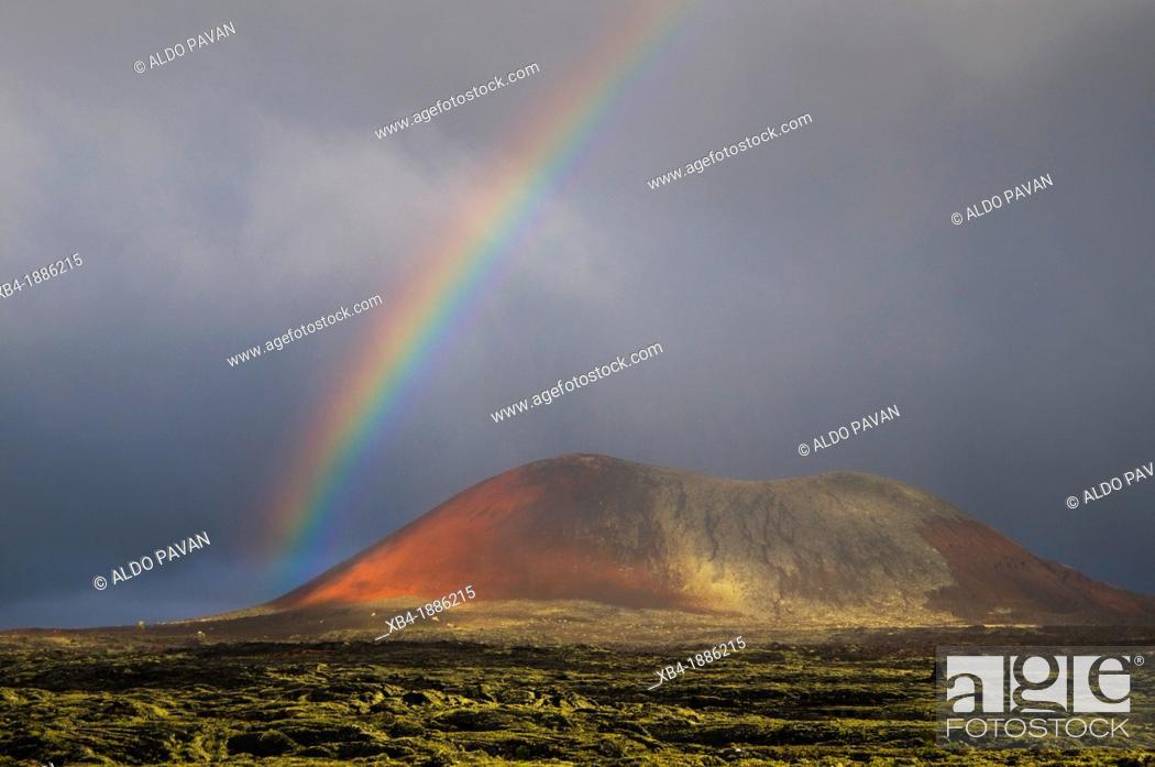 Stock Photo: Rainbow, La Vegueta, Lanzarote, Canary Islands, Spain.