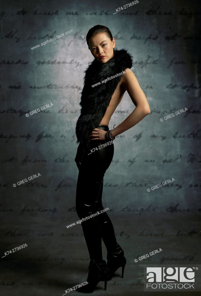 Stock Photo: fashion image of young asian woman.