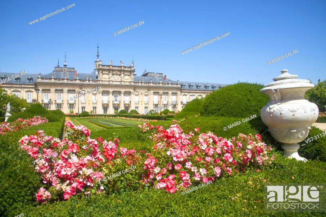 Stock Photo: Facade of Royal Palace and gardens. La Granja de San Ildefonso, Segovia province, Castilla Leon, Spain.
