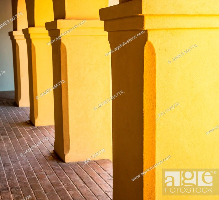 Stock Photo: The shaded colonnade at Mission Tumacacori, Arizona.