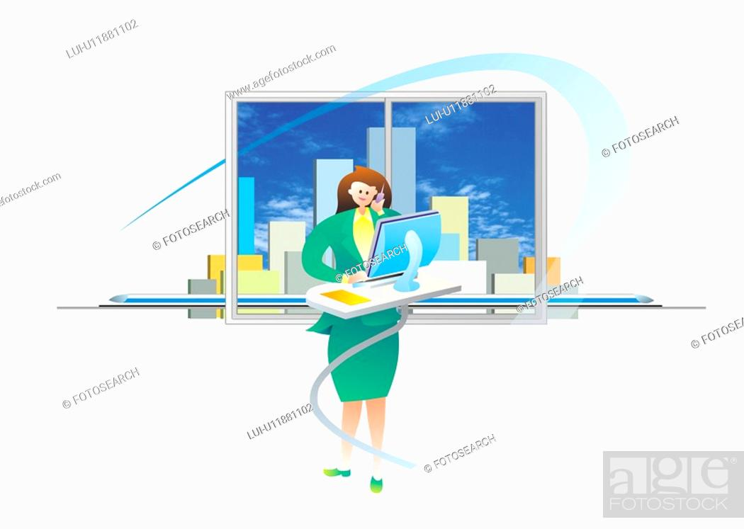Stock Photo: Businesswoman On Computer.