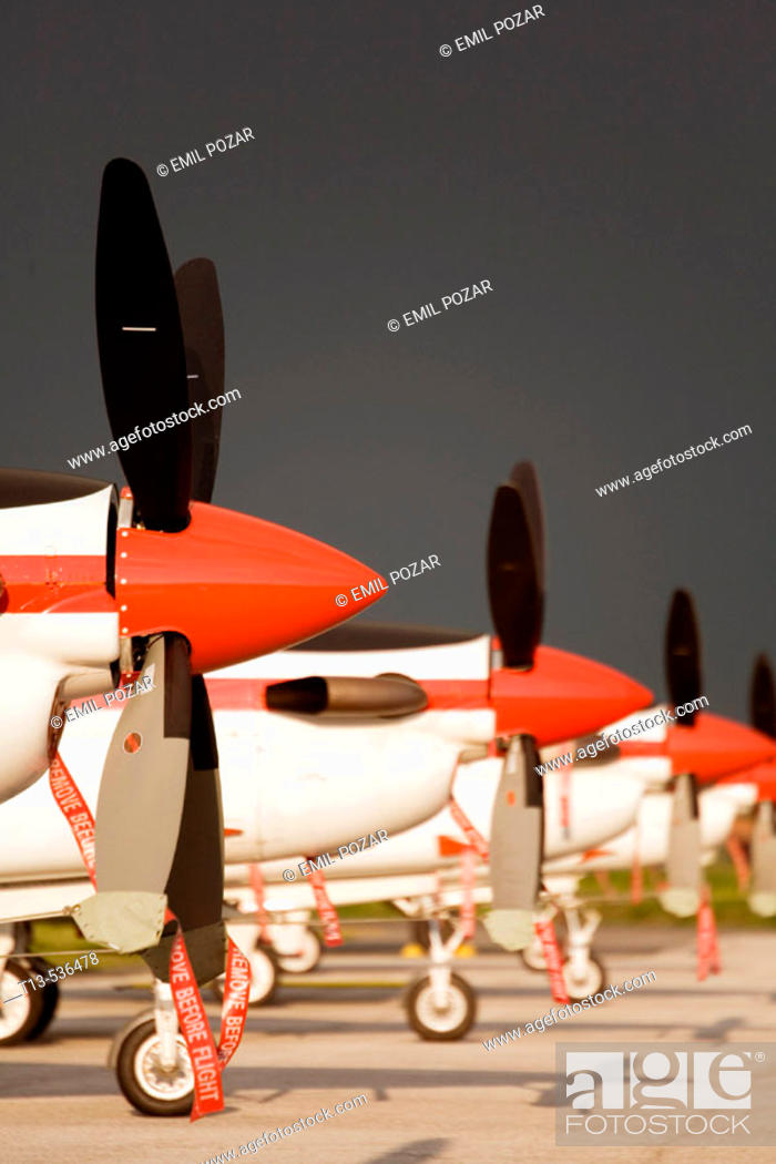 Stock Photo: Parked trainer aircraft of the Croatian Air Force posed under late afternoon lighting.