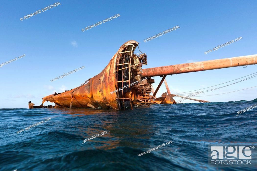 Stock Photo: Ols Shipwreck at Silverbanks, Silver Bank, Atlantic Ocean, Dominican Republic.