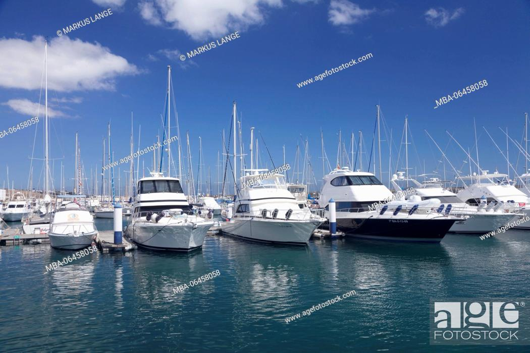 Stock Photo: Yacht harbour of Puerto Calero, Lanzarote, Canary islands, Spain.