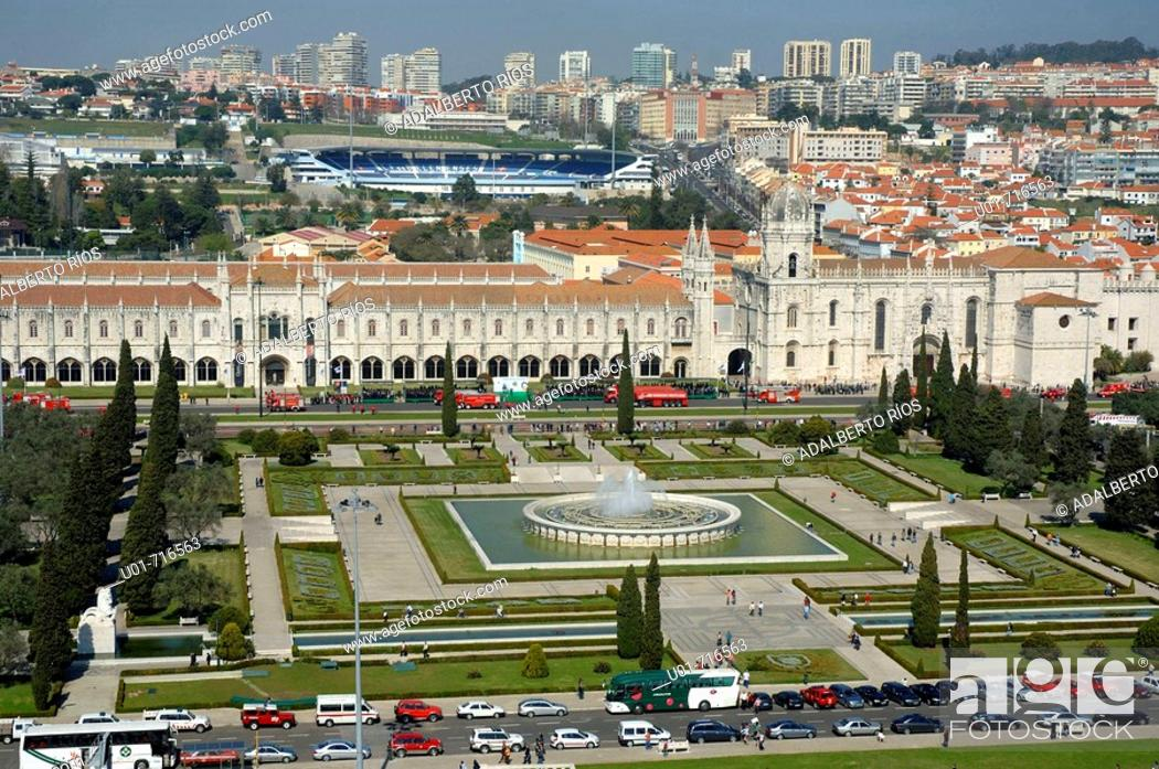 Stock Photo: Monastery of the Hieronymites and Praça do Imperio, Belem, Lisbon. Portugal.