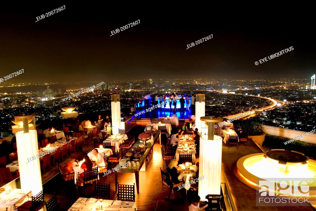 Sorocco Restaurant View Over People Dining At Tables Lit Up With Light Displays And The Bangkok Stock Photo Picture And Rights Managed Image Pic Eub 20072607 Agefotostock