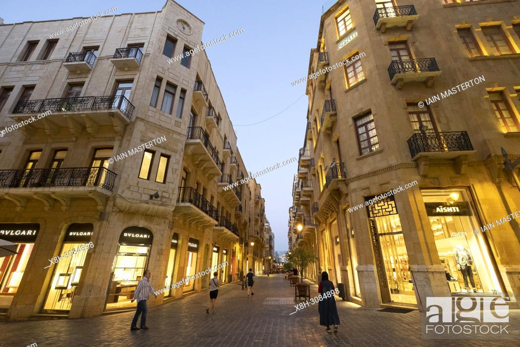 Stock Photo: Fashion boutiques on street in restored Downtown district Beirut, Lebanon.