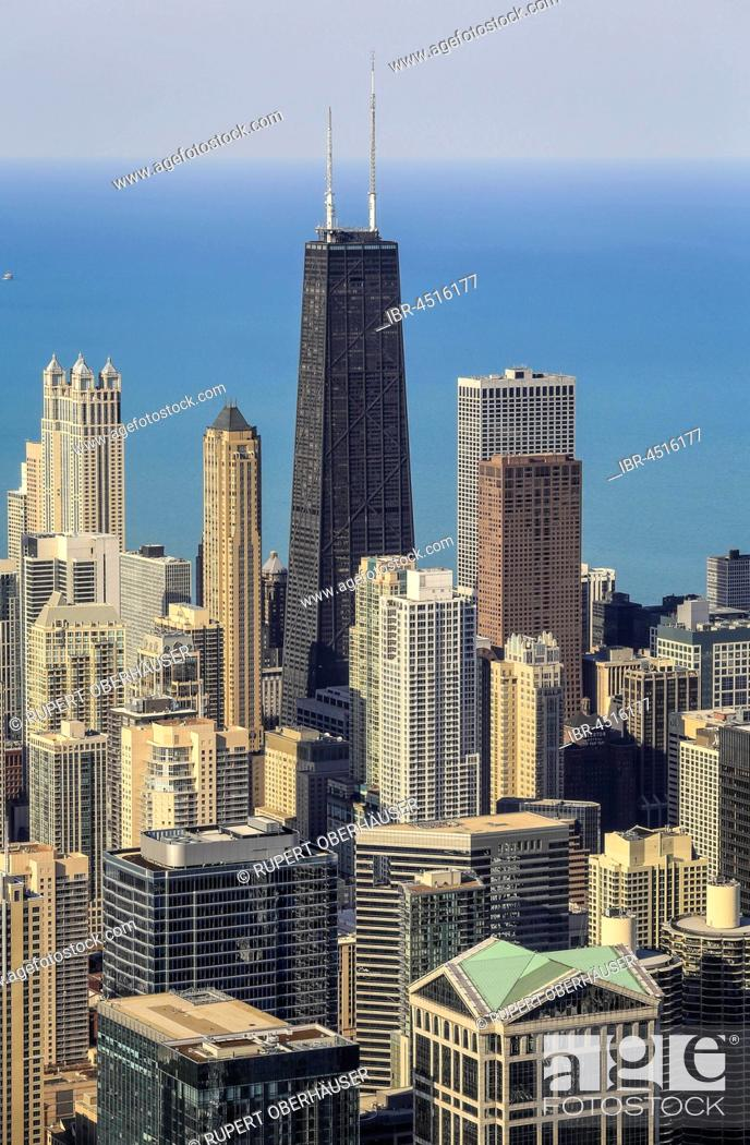 Stock Photo: Skyline in front of John Hancock Center, Lake Michigan, view from the Skydeck, Willis Tower, formerly Sears Tower, Chicago, Illinois, USA.
