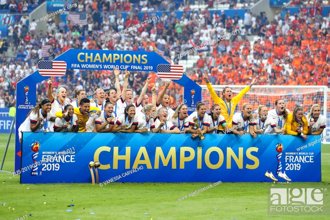 Stock Photo: July 7, 2019, Lyon, France: Players the United States celebrates victory against the Netherlands game valid for the Final of the Women 's Soccer World Cup.