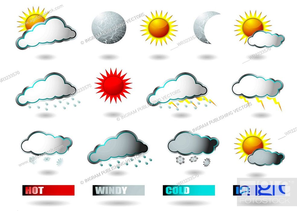 Stock Vector: collection of weather icons all with drop shadow.