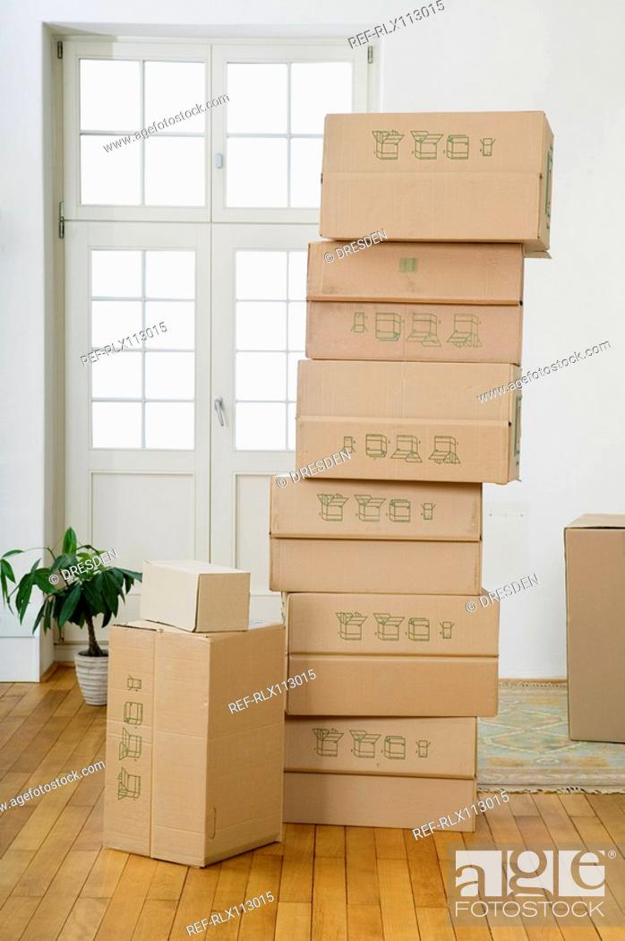 Stock Photo: Stack of cardboard boxes.