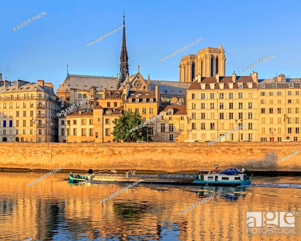 Stock Photo: France, Paris, area listed as World Heritage by UNESCO, view of Notre Dame cathedral on the Ile de la Cite at sunrise.