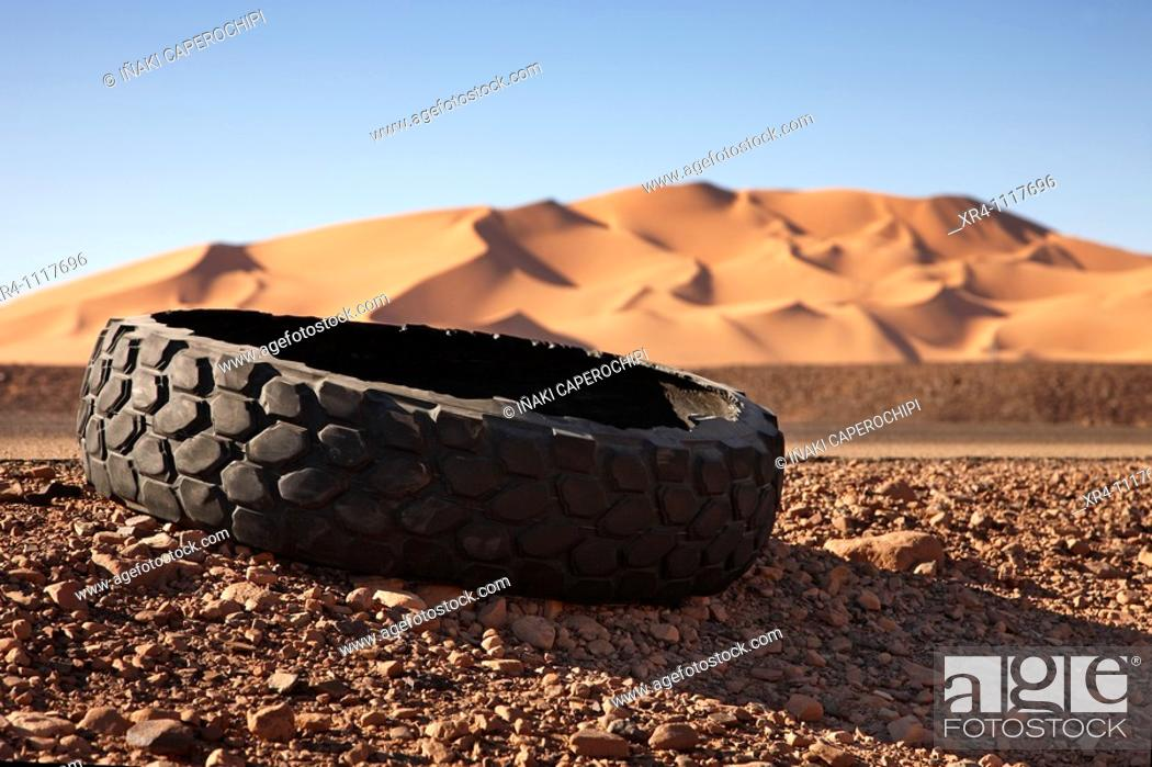 Stock Photo: Burst wheels at te road, Ghat, Libia.