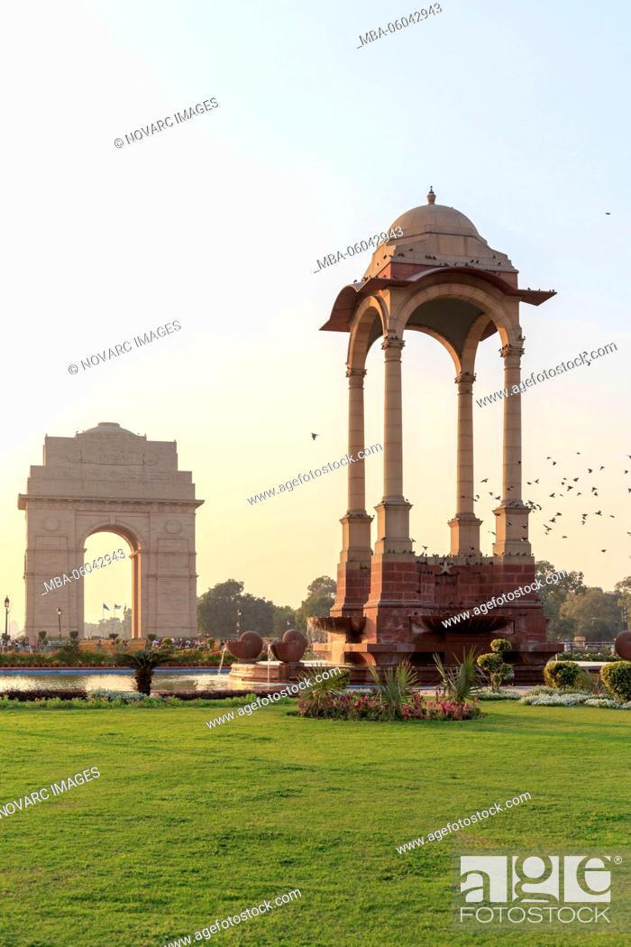 Stock Photo: The India Gate, All India War Memorial, Triumphal Arch, New Delhi, Delhi, India.
