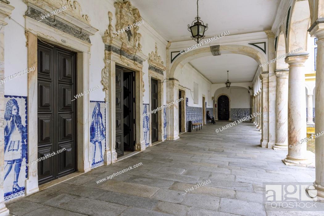Stock Photo: Cloister of the Former Colegio do Espirito Santo, Courtyard of Evora University, Alentejo Region, Portugal, Europe.