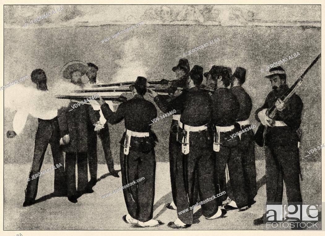Photo de stock: Mexican war. Execution of Emperor Maximilian of Mexico, General Miguel Miramón, and General Tomás Mejia by firing squad. History of France.