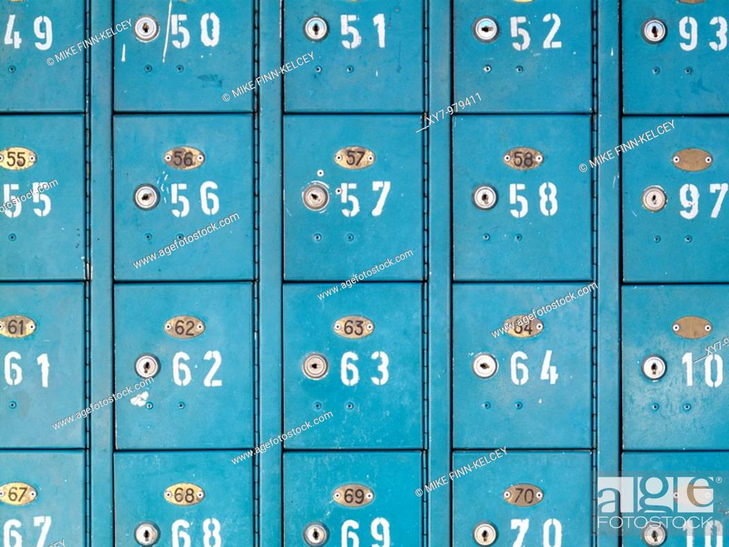 Stock Photo: Safety deposit boxes.