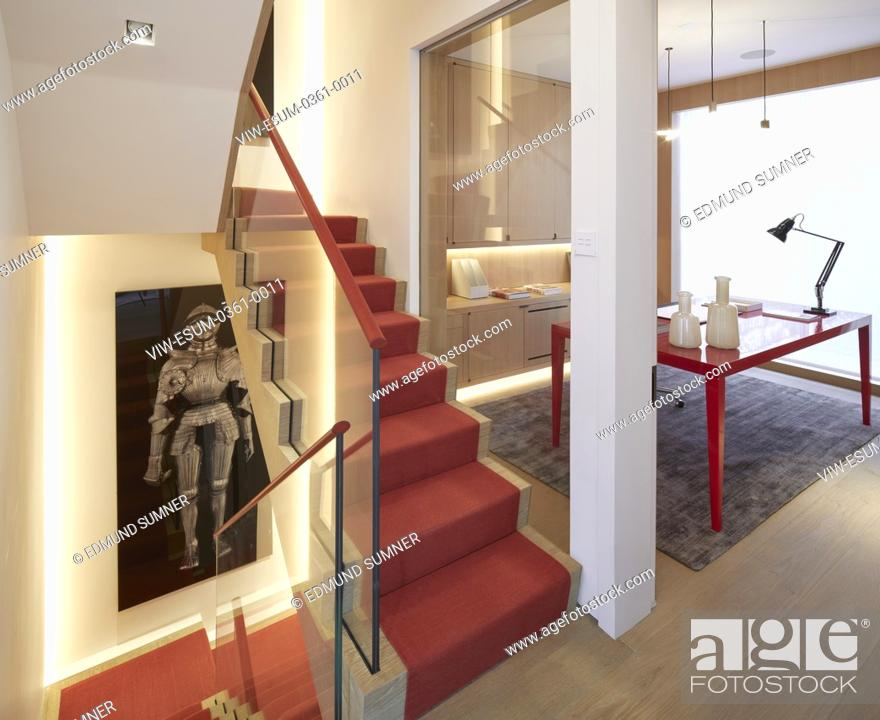 Stock Photo: Staircase and study on 1st floor. Private residence, London, United Kingdom. Architect: PTP , 2017.
