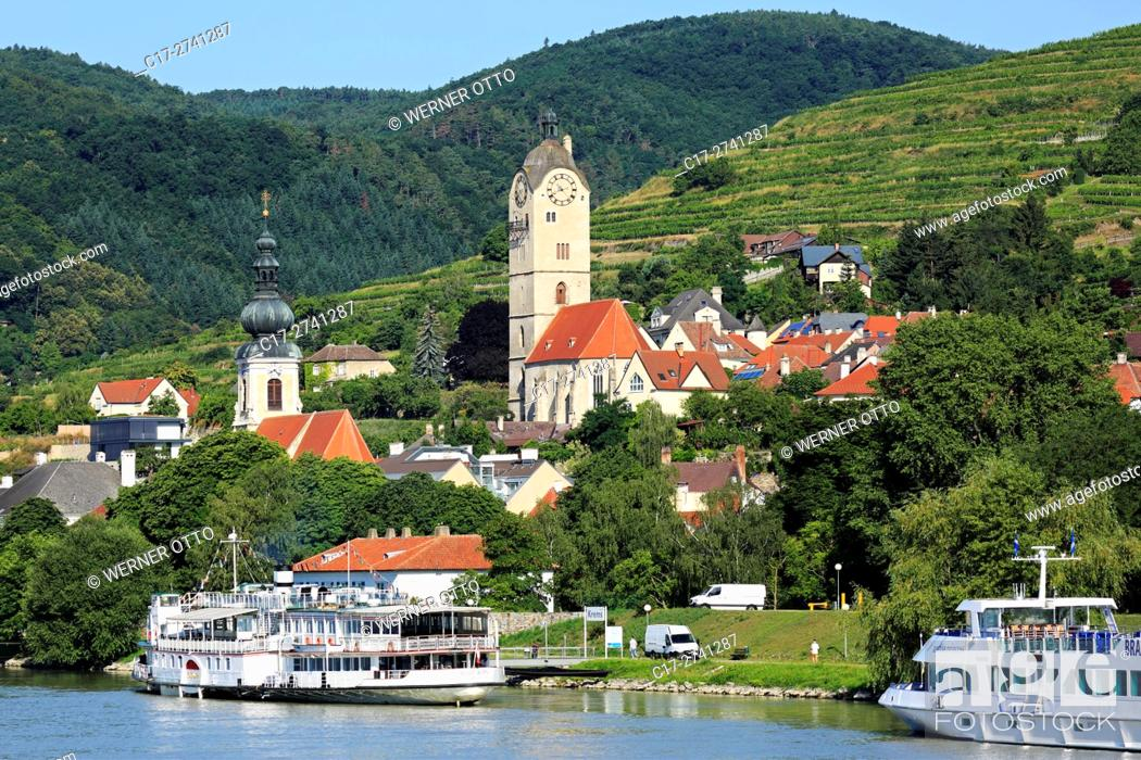 Stock Photo: Austria, Lower Austria, A-Krems an der Donau, Danube, Wachau, Waldviertel, A-Krems-Stein, A-Stein an der Donau, city view, catholic parish church Saint Nicholas.