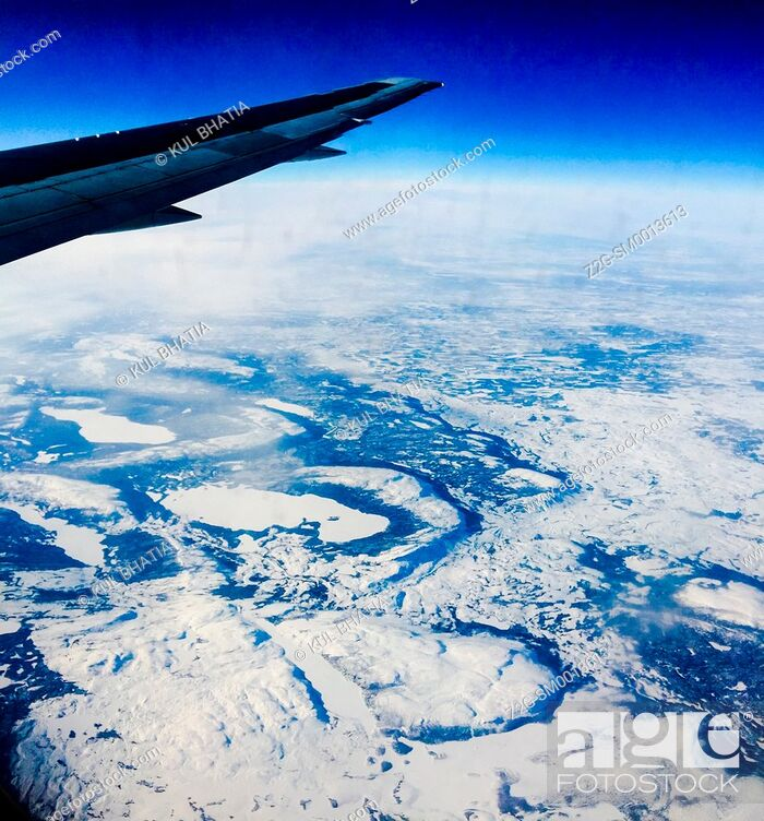 Stock Photo: Snowy landscape at 30000 feet, 10000 meters.